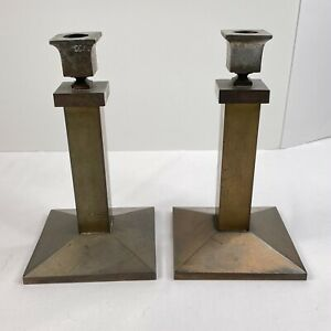 """B & H Bradley Hubbard Mission Style Antique Copper Number 205 Candlestick 8.5"""""""
