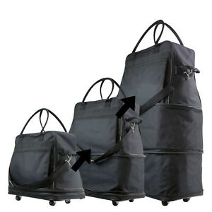 Brand New Expandable Black Travel Bag With Wheels for Travel