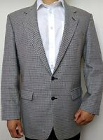 """Men's Sports Jacket Chest 42"""" Long M&S Pure Wool Blazer Houndstooth Black White"""