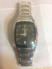 Bulova Silver Bezel Stainless Steel Beautiful Men's Watch Chrome Bravo