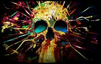 Psychedelic Skull Painting - Abstract Modern Wall Art Canvas Picture 20x30inch
