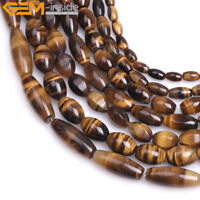 """Natural Faceted Olivary Yellow Tiger Eye Beads For Jewelry Making Strand 15"""" DIY"""
