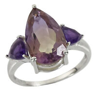 925 Sterling Silver Indian Fashion Amethyst And Ametrine Stone Ring Jewelry