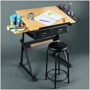 Adjustable Drafting Table Art Craft Drawing Desk w/Stool Architect Workstation