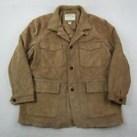 Orvis Suede Leather Coat Adult 2XL XXL Men Brown Quilted Lined Button Up Jacket