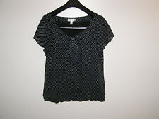 DRESS BARN Womens Black POLKA DOT Blouse Top Shirt size XL