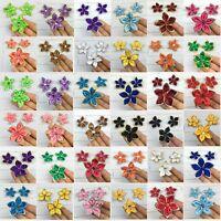 Lot DIY 5-100PCS Satin Ribbon Flower Crystal Bead Appliques Wedding Decoration