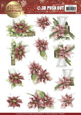 PRECIOUS MARIEKE 3D PUSH OUT DECOUPAGE FOR CARDS & CRAFTS - POINSETTIA IN RED