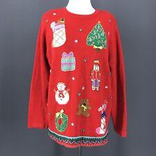 Christmas Sweater L Red Hand Embroidered Oversized Tunic KAREN SCOTT