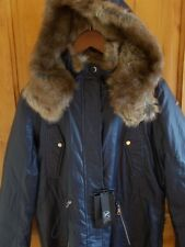 MARC NEW YORK NWT XL LAUREN PARKA COATED COTTON ANORAK DENIM BLUE FAUX FUR TRIM