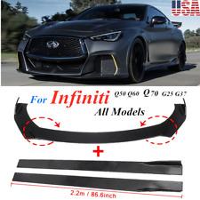 """Glossy Black Front Bumper Lip Spoiler Splitter +86.6"""" Side Skirt For Infiniti US"""