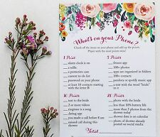 What's On Your Phone Game - Floral (50-sheets) Bridal Shower Party Game Bride
