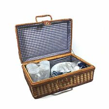 Park Smith 24pc Wicker Picnic Basket for 4, Plastic Dish Set & Blue Check Linens