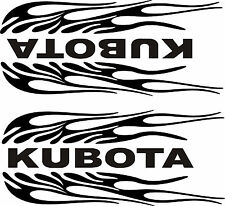 "PAIR OF KUBOTA FLAMING BLACK  DECALS    1 L & 1 R  SIDE   3 3/4"" X 9"" EACH"