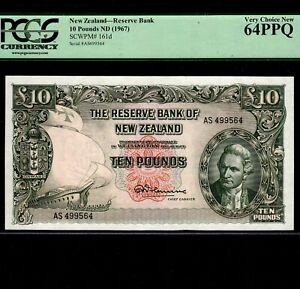 New Zealand 10 Pounds 1967 P-161d * PCGS Unc 64 PPQ * High Grade *