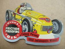 1950 Wynn's Oil The 500 Indianapolis Speedway Johnnie Parsons Decal  Original
