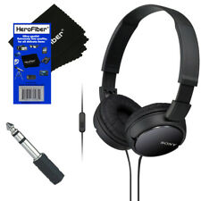 Sony MDRZX110AP Smartphone Headset with Mic (Black) + Headphone Adapter