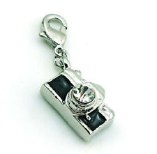SILVER PLATED CRYSTAL CAMERA CLIP ON CHARM