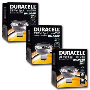 3x Duracell 25w =35w ECO Energy Saving MR16 Halogen Downlight Spotlights 12v