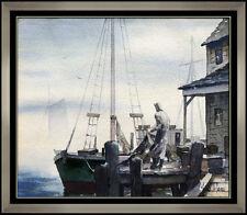 John Cuthbert Hare Original Painting Gloucester Harbor Landscape Signed Artwork