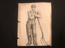 Vintage 40's Farmer Portret Pastels Sketch by NY Art School Student work D.J.D