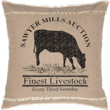 Country Cushion Pillow Filled Black Stencilled Cow on Khaki Cotton 46cmsq 18x18""