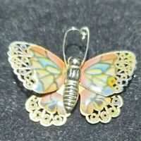 Vintage gold tone punched decorated multi coloured jazzy enamel Butterfly Brooch