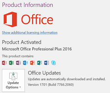 MS Office 2016 Professional  Plus Suites for 1 windows/pc
