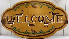 Vintage Hand Carved Painted Duck Wooden Welcome Sign