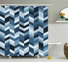 Slate Blue Shower Curtain Zigzag Twisty Lines Print for Bathroom