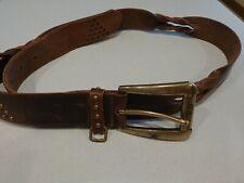 Guess Vintage Belt 36 38  Rare Design Brass Buckles Leather EUC