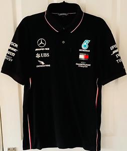Mercedes-AMG F1 2020 Team ONLY Polo Shirt Black RARE Lewis Hamilton Large