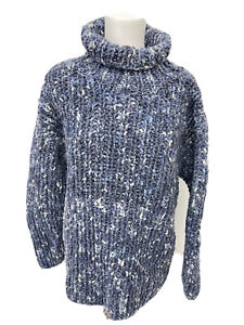 PACHAMAMA stunning blue super chunky wool/cotton Roll Neck jumper - 10 12 - A21