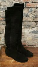 Stuart Weitzman Black Suede Knee-High Boots Women's Size 6M Stretch Back