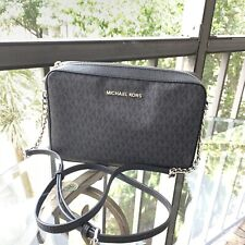Michael Kors Women Leather Crossbody Bag Handbag Purse Messenger Shoulder Black
