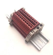 Power Distribution Terminal Blocks 10 Gang Red DIN Rail Dinkle 12AWG 20A 600V
