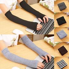 Women's Elbow Long Fingerless Gloves Thumb Hole Arm Warmer Winter Gloves Mittens
