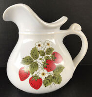 Vintage McCoy Pottery Strawberry Pitcher Ewer 7 1/4""