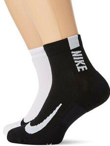 2 Pack Nike Multiplier Ankle Socks Black White Men's Sport Socks - SX7556-906
