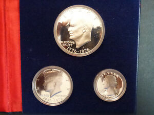 CASED SET OF SILVER PROOF USA BICENTENNIAL COINS 1976