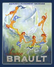 CHAMPAGNE MERMAIDS ~ SOURCE BRAULT Vintage Advertising 8x10 Art print