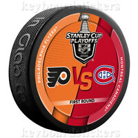 2020 Stanley Cup Playoffs Dueling Hockey Puck Philadelphia vs Montreal Canadiens
