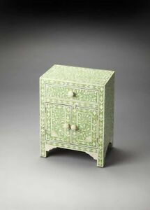 Bone Inlay Floral One Drawer Two Door Bedside Table Green