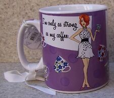 Jumbo Coffee Mug I'm Only as Strong as My Coffee NEW 30 ounce cup with gift box