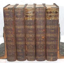 CAMILLA FANNY BURNEY ANTIQUE FINE LEATHER BINDING 5 VOLUME BOOK SET 1796 LONDON