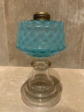 Blue Opalescent Oil Lamp With Diamond Pattern - Likely Hobbs