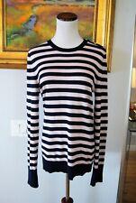Equipment Femme Ondine Pullover Sweater Silk Cashmere Shoulder Buttons Striped M