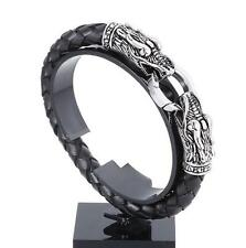 Mens Boys Stainless Steel Dragon Head Black Leather Cuff Bracelet Jewelry 8.26""