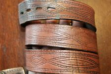 DISTRESSED TOOLED LEATHER WESTERN BELT SIZE 36-38