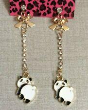 Betsy Johnson Gold Dangling Bow & Panda Bears Crystal Stud Earrings Brand New!